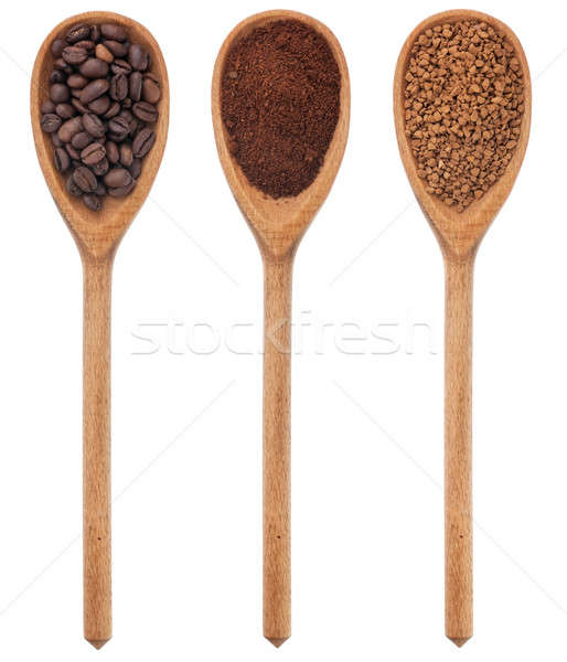 Three spoons freshly ground coffee, beans, granular Stock photo © alekleks