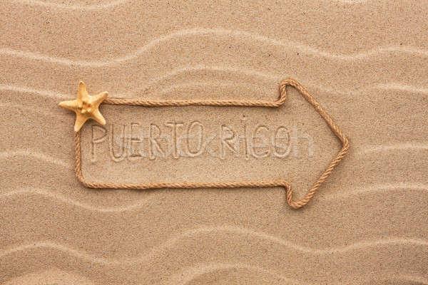 Nyíl kötél tenger kagylók szó Puerto Rico Stock fotó © alekleks