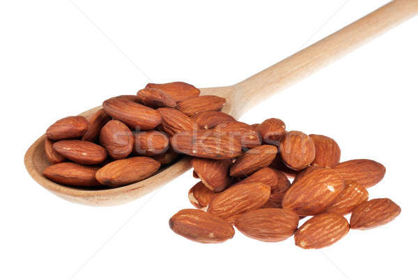 Foto stock: Cuchara · de · madera · aislamiento · blanco · textura · frutas