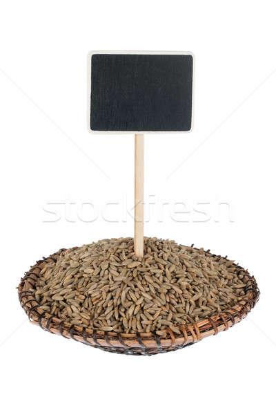 Halom rozs tányér szöveg izolált fehér Stock fotó © alekleks