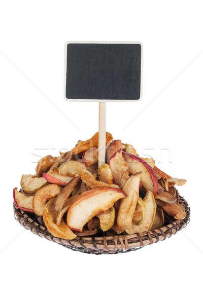Hoop gedroogd appel plaat tekst geïsoleerd Stockfoto © alekleks