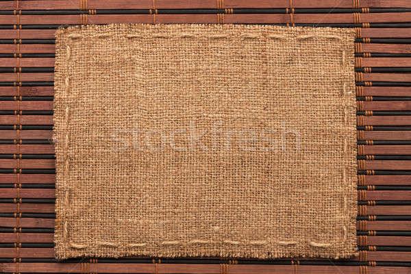 Quadro pano de saco mentiras bambu lugar textura Foto stock © alekleks
