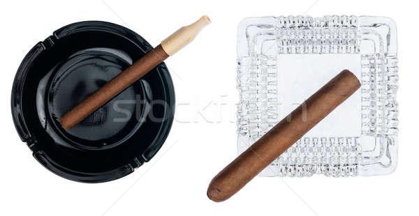 Kettő hamutartó szivarok izolált fehér dohányzás Stock fotó © alekleks