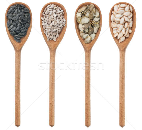 Spoons with sunflower and pumpkin seeds Stock photo © alekleks
