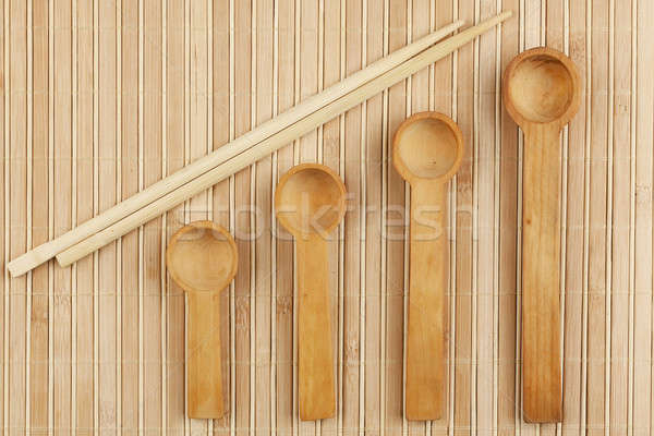 Cucchiaio bacchette bambù legno sfondo cucina Foto d'archivio © alekleks