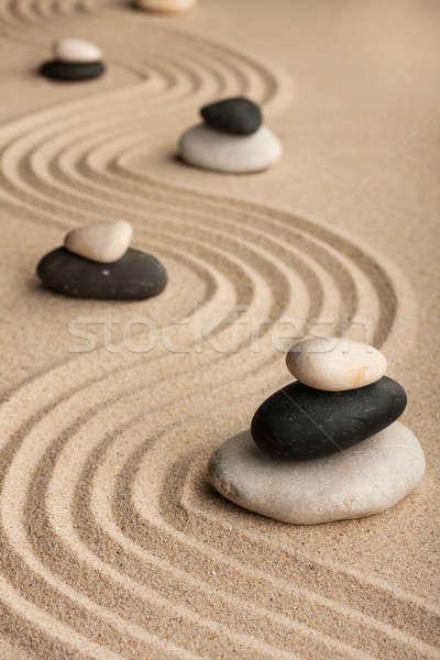 Pyramids  made of  stones standing on the sand Stock photo © alekleks