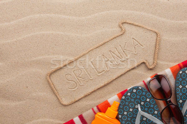 Sri Lanka  pointer and beach accessories lying on the sand Stock photo © alekleks