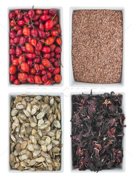 Briar, flax seed, pumpkin seed, hibiscus, in a of ceramic plate  Stock photo © alekleks