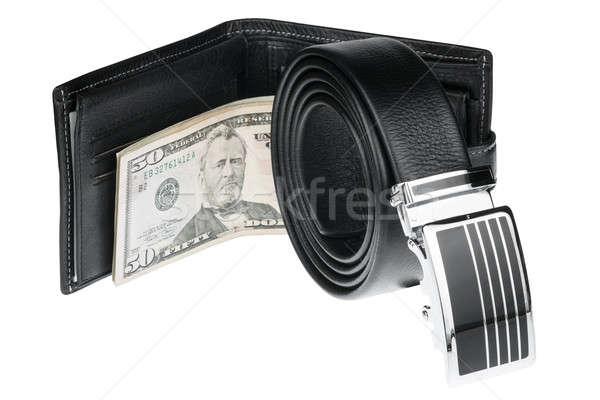 Сток-фото: пояса · бумажник · деньги · изолированный · белый · мужчин