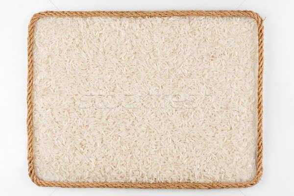 Keret kötél rizs magvak fehér hely Stock fotó © alekleks