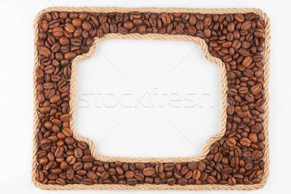 Dois quadros corda grãos de café branco lugar Foto stock © alekleks