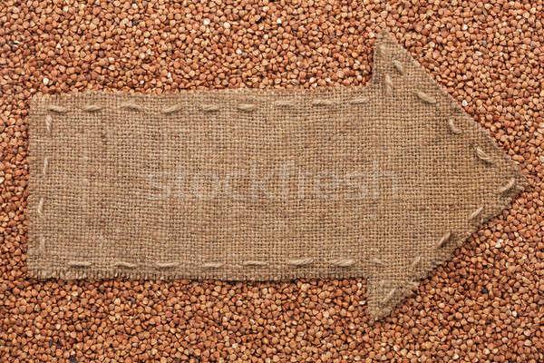 Zsákvászon hazugságok gabona hely háttér felirat Stock fotó © alekleks