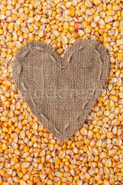Quadro forma coração pano de saco milho espaço Foto stock © alekleks