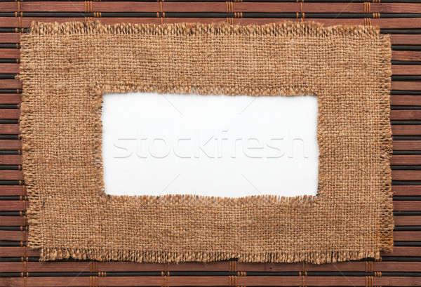 Cadre toile de jute blanche bambou espace texture Photo stock © alekleks