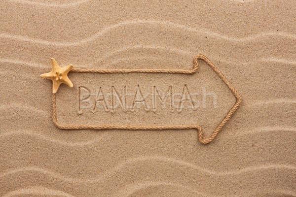 Nyíl kötél tenger kagylók szó Panama Stock fotó © alekleks