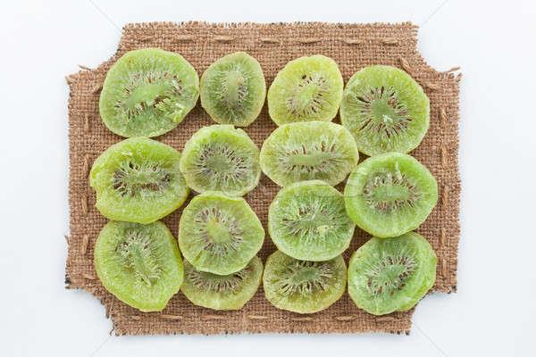Quadro pano de saco secas kiwi branco comida Foto stock © alekleks