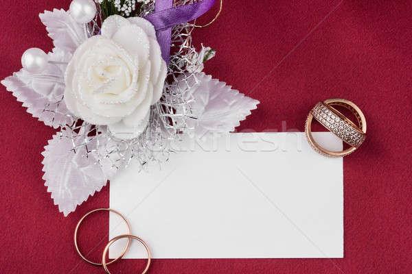 Jegygyűrűk szatén rózsa kártya piros virág Stock fotó © alekleks