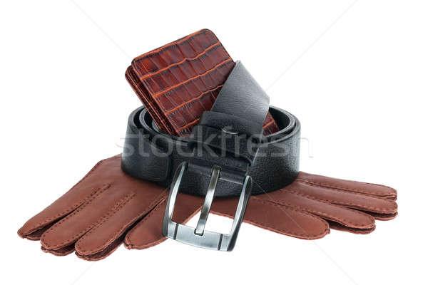 Mens wallet, belt and gloves Stock photo © alekleks