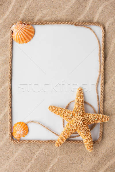 Beautiful frame of rope and star and sea shells with a white bac Stock photo © alekleks