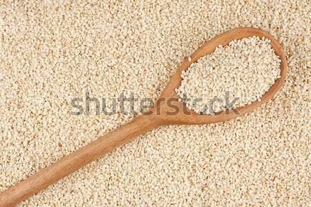 Cuchara de madera fondo color comer blanco Foto stock © alekleks