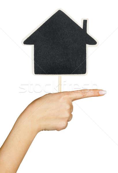 Sinal da mão casa isolado branco mulher mão Foto stock © alekleks