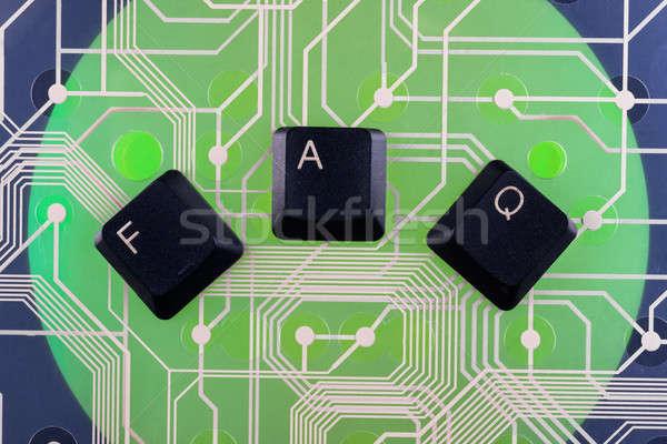 Teclado teclas fora palavra faq verde Foto stock © alekleks