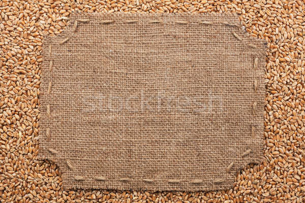 Figured frame with burlap and stitches with  place for your text Stock photo © alekleks