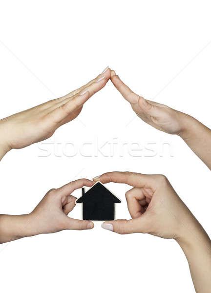 Mão casa isolado branco mulher família Foto stock © alekleks