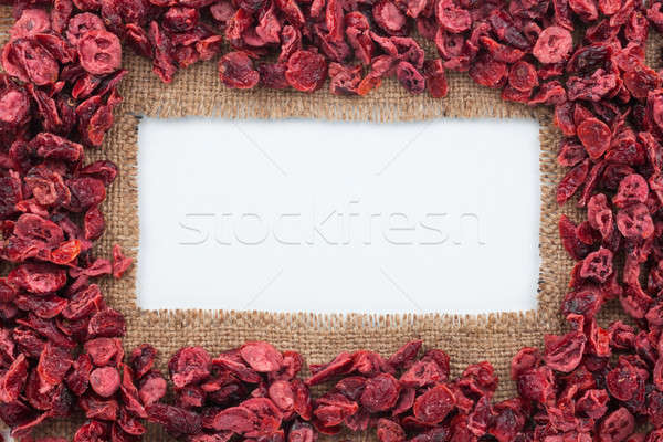 Frame made of burlap with dried cranberry Stock photo © alekleks