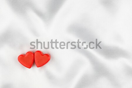 2 愛好家 心 白 サテン することができます ストックフォト © alekleks