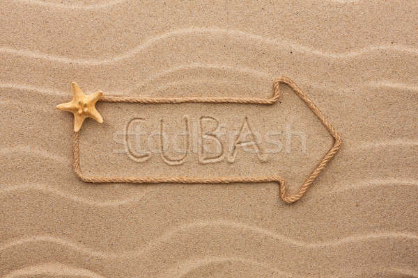Seta corda mar conchas palavra Cuba Foto stock © alekleks