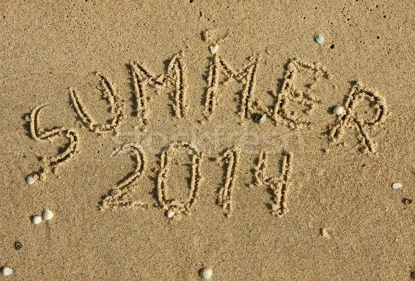 The word summer written on the sand Stock photo © alekleks