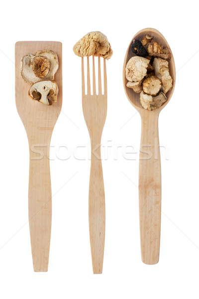 Garfo cogumelo isolado branco textura Foto stock © alekleks
