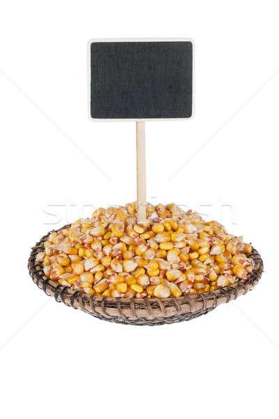 Milho prato texto isolado branco Foto stock © alekleks