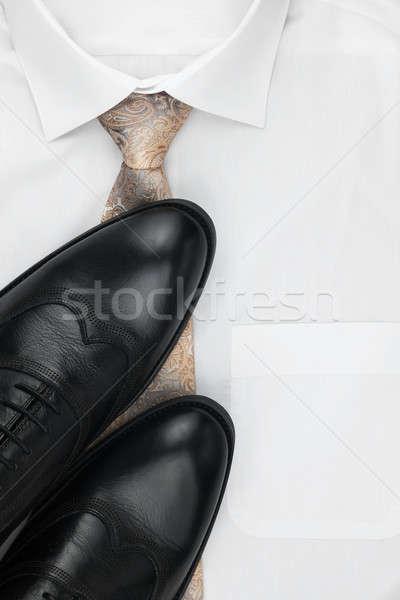 Klasszikus cipők nyakkendő fehér póló hely Stock fotó © alekleks