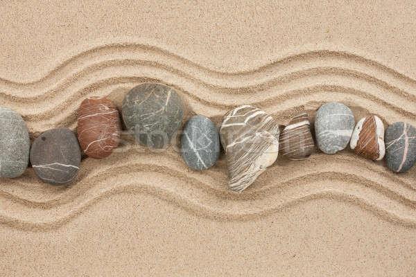 Gestreift Steine Sand benutzt Strand Garten Stock foto © alekleks