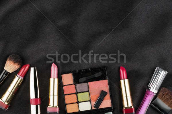 Belo quadro cosmético preto cetim espaço Foto stock © alekleks
