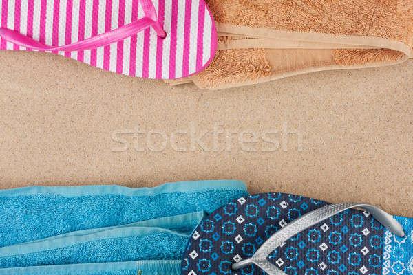 Törölköző papucs homok űr tengerpart divat Stock fotó © alekleks
