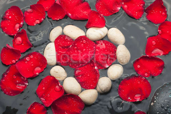 The symbolic heart of the white stones among red rose petals Stock photo © alekleks