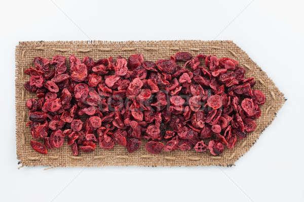 Zsákvászon aszalt vörösáfonya felirat retro sötét Stock fotó © alekleks