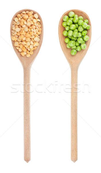 Green peas, dried peas in a wooden spoon Stock photo © alekleks