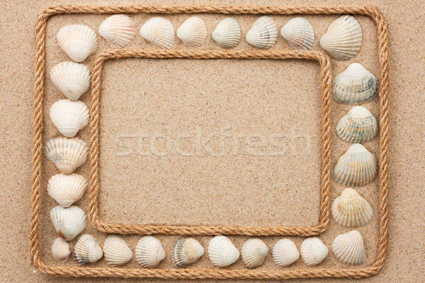 Belo quadro corda mar conchas areia Foto stock © alekleks
