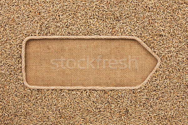 Pointer made from rope with grains rye lying on sackcloth Stock photo © alekleks