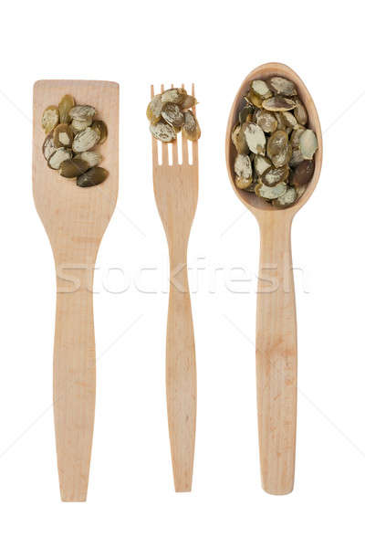 Stock photo: Wooden spoon, fork, paddle with pumpkin  seed