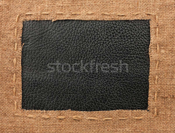 Frame of burlap, lies on a background of leather Stock photo © alekleks