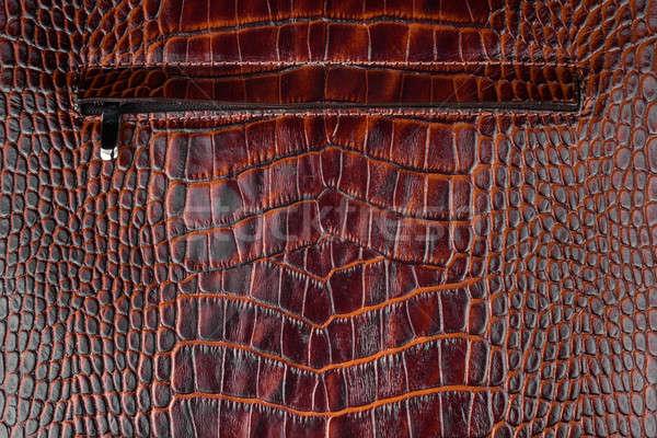 Zipper sewn into natural leather Stock photo © alekleks