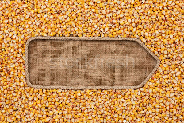 Pointer made from rope with grains corn  lying on sackcloth Stock photo © alekleks