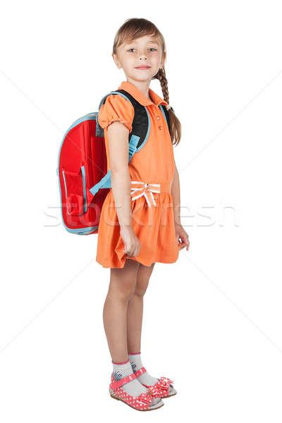Cute schoolmeisje Rood rugzak schouders geïsoleerd Stockfoto © alekleks