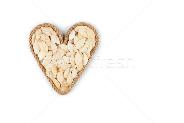 Szimbolikus szív kötél sütőtök magok fehér Stock fotó © alekleks