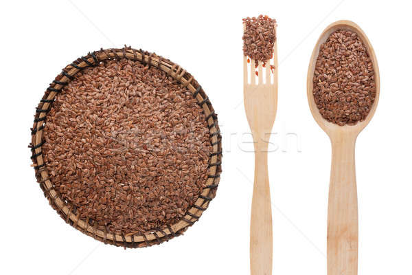 Flax seed in a plate, fork and spoon Stock photo © alekleks